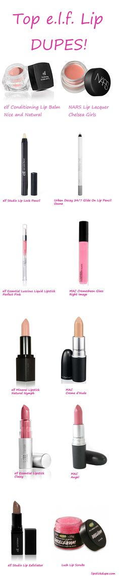 Ooh Lala Elf Dupes We Get Enough Of Them Can You Elf Eyeslipsface Lipstickdupe Wwwlipstickdup Elf Dupes, Drugstore Makeup Dupes, Lipstick Dupes, Beauty Dupes, Beauty Makeup, Eyeshadow Dupes, Lipsticks, Nude Lipstick, Elf Products