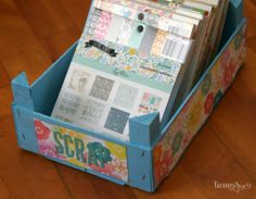 CRAFTY STORAGE: Grocery box as craft Storage by Olaya