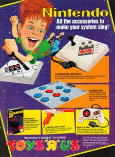"Get all the accessories to make your NES sing from Toys ""R"" Us!  Follow oldgamemags on Tumblr for more awesome scans from yester..."