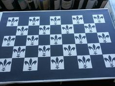 Fleur de lis painted canvas floor cloth