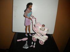 1999 AA Mattel Walking Barbie & baby sister Krissy doll stroller playset #Mattel #Dollswithaccessories