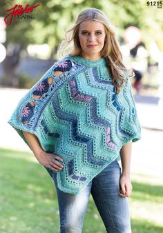 Lovely poncho with crochet details.