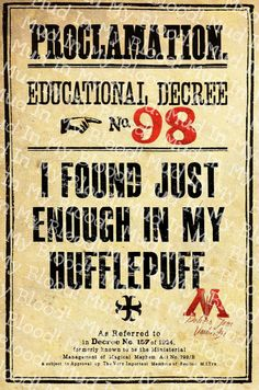 Harry Potter Inspired- Ministry of Magic Just Enough In My Hufflepuff Poster