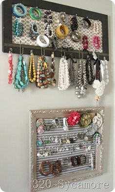 Loving the jewelry storage ideas! Frame some of those strainers you can find at thrift stores