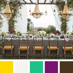 When settling on wedding colors, consider the mood you want to set and choose a palette that will complement the location or theme. Here are 30 combinations perfect for any type of wedding. Get inspired by these hot hues!