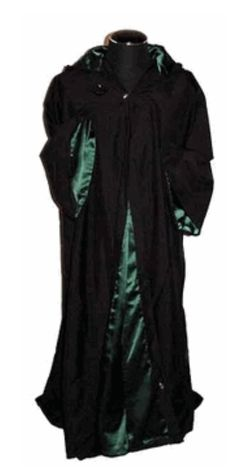 Pagan Robes Wicca Witch:  Grand Emerald Ritual and Training Robe.  Regal school robe; green satin lining.