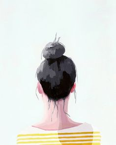hair art  bun print  Top Knot 19 giclee print by ElizabethMayville, $20.00