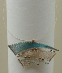 JANA STEFKOVA-CZ-Necklace No. 10512 String necklace made of blue and beige silk, golden metallic yarn supplemented by gold beads. Protected by copyright! Lace Jewelry, Textile Jewelry, Fabric Jewelry, Lace Necklace, Jewellery, Bobbin Lace Patterns, Beading Patterns, Bobbin Lacemaking, Metallic Yarn