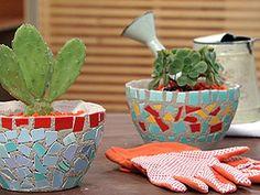 Manualidades y Artesanías | Macetas con mosaico | Utilisima.com