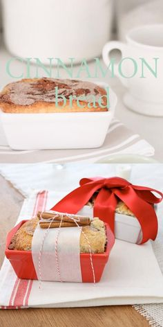 An easy Cinnamon Bread Recipe that is perfect for breakfast, snacks and gifting to friends, neighbors and co-workers! This Christmas bread makes a beautiful gift wrapped into inexpensive giftable loaf pans. Holiday Bread, Christmas Bread, Christmas Desserts, Christmas Baking Gifts, Christmas Cooking, Holiday Baking, Baking Packaging, Bread Packaging, Christmas Cookies Packaging