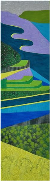 Andalusian Hillside. Painted and stitched.