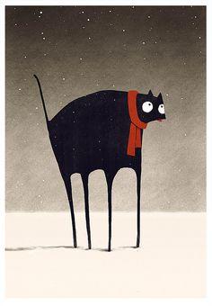 Illustration by Dan Burgess, American concept artist and illustrator Crazy Cat Lady, Crazy Cats, I Love Cats, Cool Cats, Illustration Art Nouveau, Art Mignon, Winter Cat, Black Cat Art, Black Cats