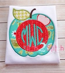 Apple For Monogram Applique - 3 Sizes! | Font Frames | Machine Embroidery Designs | SWAKembroidery.com The Itch 2 Stitch