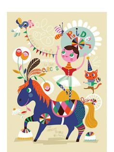 Pretty Little Rider Poster by Helen Dardik at Human Empire children's room colorful ideas....
