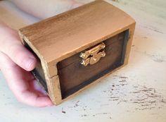 Rustic gold wedding ring box shabby chic wedding ring by PineNsign
