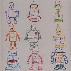 Robots embroidery pattern