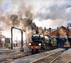 Steam Locomotive : Steam Train Painting by Howard Fogg 27 Train Wallpaper, Steam Art, Old Steam Train, Holland, Steam Railway, Train Art, Railway Posters, Train Pictures, British Rail