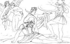 Ettore protegge Pandaro  (Hom.Il.5.295). Bonaventura Genelli (1798 – 1868)