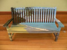 Painted bench at Kelvingrove Art Gallery & Museum in Glasgow. Gorgeous!!
