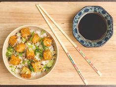 Bouchées de tofu au miel et graines de sésame