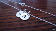 Double Initial Necklace Sterling by BellaDonnaJewelryCo on Etsy, $23.50