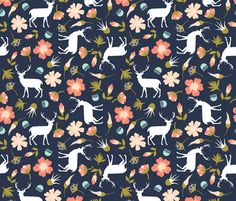 stag in flowers // navy fabric by ivieclothco on Spoonflower -  custom fabric A good choice for a camper quilt.