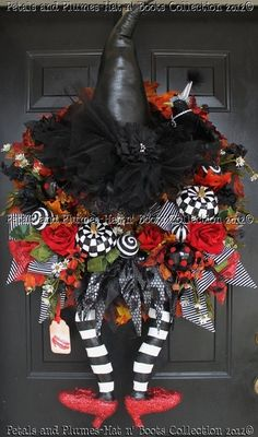Halloween Wreath ThE WiCkEd WiTcH with her RuBY slippers-by PetalsnPlumes