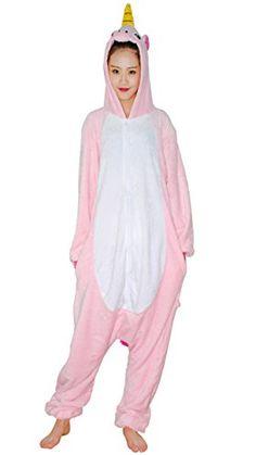 Unicorn Kigurumi Pajamas - FeelMeStyle Animal Cosplay Costume Unisex Adult Children  Onesie Sleepwear - L (Height Light Pink Unicorn 392cc2f0d