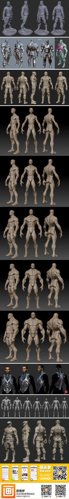 【基础教材】游戏中的男性人体结构素材参考...