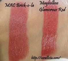 Maybelline Colorsensational lipstick Glamorous Red : dupe for MAC brick-o-la