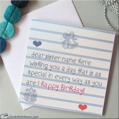 Happy Birthday Card For Sister With Name Generator