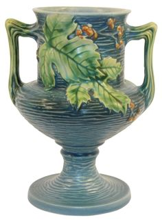 Roseville Pottery Bushberry Blue Vase 157-8
