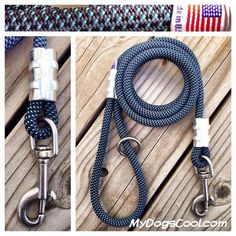 Pacific Blue Climbing Rope Dog Leash Made in USA by MyDogsCool on Etsy https://www.etsy.com/listing/151976512/pacific-blue-climbing-rope-dog-leash