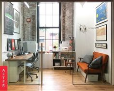 """Before & After: A """"Blank Canvas"""" Office Gets a Hip New Look   Apartment Therapy"""