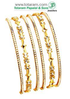 22K Fine Gold Bangles - Set of  6 (3 Pair)