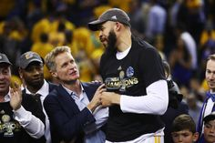 Steve Kerr and JaVale McGee of the Golden State Warriors celebrate after defeating the Cleveland Cavaliers 129120 in Game 5 to win the 2017 NBA...