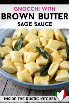 Gnocchi with a Sage and Butter Sauce. Soft and light homemade gnocchi tossed in a simple yet delicious brown butter and sage sauce. Sage Recipes, Gnocchi Recipes, Dinner Recipes, Simple Recipes, Dinner Ideas, Homemade Butter, Homemade Sauce, Homemade Pasta, Vegan Sauces