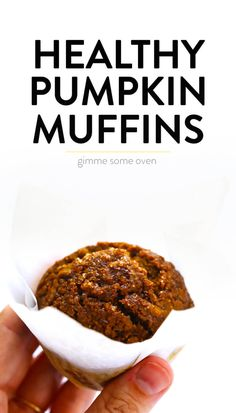 LOVE this healthy pumpkin muffins recipe! They're naturally gluten-free, naturally sweetened with maple syrup, easy to make, and SO delicious. Perfect for fall breakfast, dessert, and snacking. | Gimme Some Oven #pumpkin #muffins #breakfast #glutenfree #healthy #fall #thanksgiving #dessert