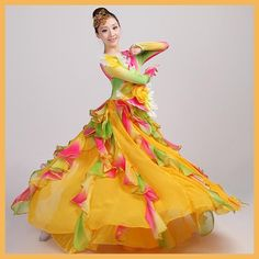 Festival Prom Flamenco Costumes Female Paso Doble Wear Choral Dance Clothes Folk Dance Flowers Slim Dress