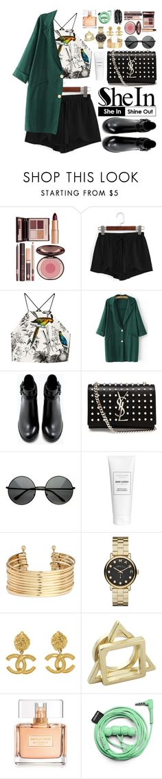 """""""Shein"""" by oshint ❤ liked on Polyvore featuring Charlotte Tilbury, Milly, Zara, Yves Saint Laurent, H&M, Marc by Marc Jacobs, Chanel, Givenchy, Urbanears and Kenneth Jay Lane"""