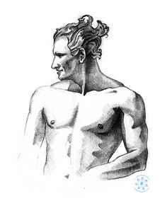 Sketch I drew of a handsome shirtless guy with fun wild hair in Prospect Park, Brooklyn. | jonathanorjack | sketchbook, sketching, illustration, figure drawing, male figure, hot guys, drawing