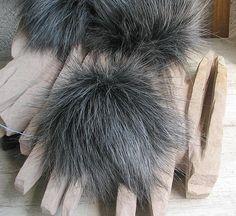 Graphite Silver Wolf Faux Fur Pom Pom Faux Fur Pompoms. Faux