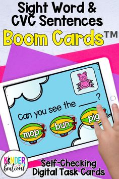 Engage your students and practice sight words and CVC words with these digital task cards! Boom Cards™ are interactive, self-checking digital task cards that make learning fun! Perfect for kindergarten and first grade students.