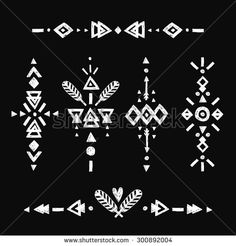 Vector Tribal Hand Drawn elements, ethnic collection, aztec stile, tribal art, Flash Tattoo isolated on black - stock vector