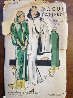 Vogue 6502   1930s Misses' and Women's Evening Cape