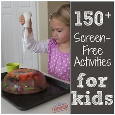 : Awesome Screen-Free Activities for Kids! Make a large lock of ice with toys in and let kid use a turkey basted, warm water and salt to melt their toys out Free Activities For Kids, Infant Activities, Preschool Activities, Games For Kids, Kids Fun, Toddler Play, Toddler Crafts, Projects For Kids, Crafts For Kids
