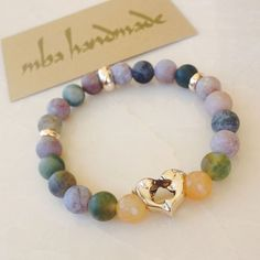 WOMEN'S NATURAL STONE COLORFUL AGATE & CARNELIAN BEADED BRACELET CRYSTAL HEALING  #MbaHandmade   #Beaded