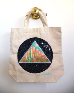Hand Painted Desert Outer Space Tote Bag by MAGICbyAnnaPanda, $17.00