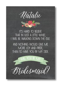 Will You Be My Bridesmaid Printable by PerfectlyPrintables on Etsy, $3.00