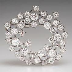 Vintage 6.68 Carat Diamond Brooch Pin Pendant 18K White Gold